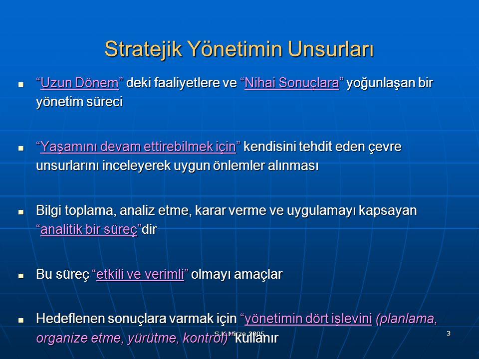 """S.K.Mirze 2005 3 Stratejik Yönetimin Unsurları """"Uzun Dönem"""" deki faaliyetlere ve """"Nihai Sonuçlara"""" yoğunlaşan bir yönetim süreci """"Uzun Dönem"""" deki faa"""