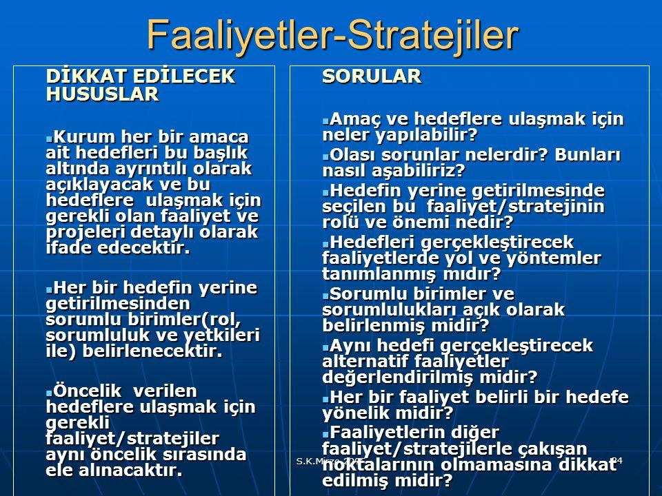 S.K.Mirze 2005 34Faaliyetler-Stratejiler DİKKAT EDİLECEK HUSUSLAR Kurum her bir amaca ait hedefleri bu başlık altında ayrıntılı olarak açıklayacak ve