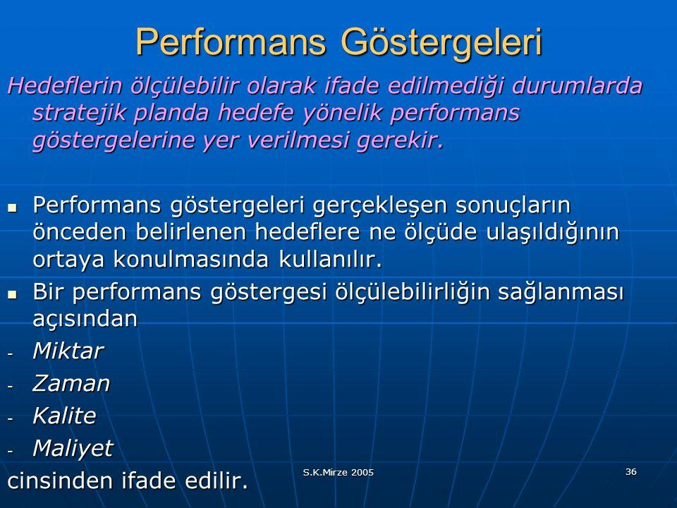 S.K.Mirze 2005 36 Performans Göstergeleri Hedeflerin ölçülebilir olarak ifade edilmediği durumlarda stratejik planda hedefe yönelik performans gösterg