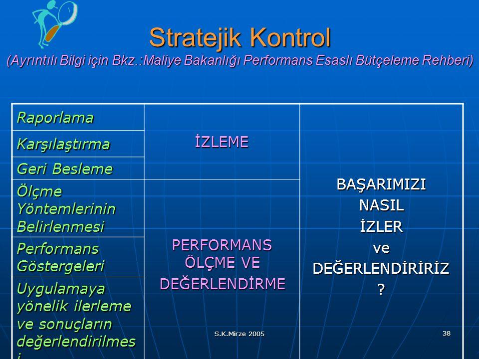 S.K.Mirze 2005 38 Stratejik Kontrol (Ayrıntılı Bilgi için Bkz.:Maliye Bakanlığı Performans Esaslı Bütçeleme Rehberi) Raporlama İZLEME BAŞARIMIZINASILİ