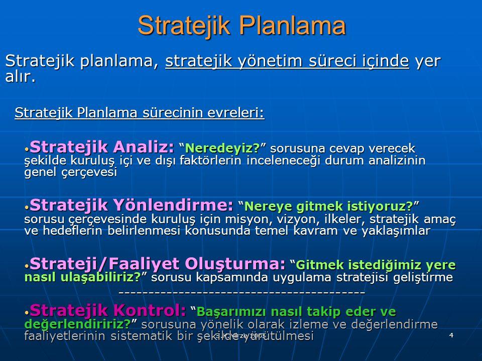 S.K.Mirze 2005 4 Stratejik Planlama Stratejik planlama, stratejik yönetim süreci içinde yer alır. Stratejik Planlama sürecinin evreleri: Stratejik Ana