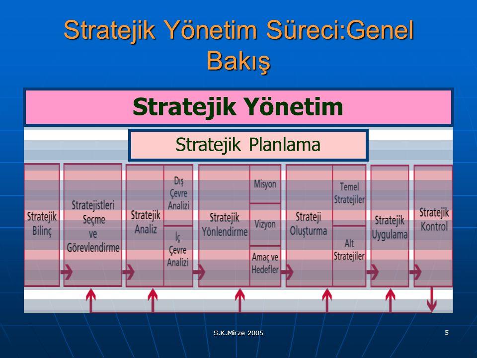 S.K.Mirze 2005 5 Stratejik Yönetim Süreci:Genel Bakış Stratejik Planlama Stratejik Yönetim