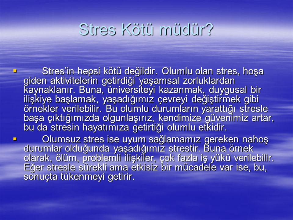 Stres Kötü müdür. Stres'in hepsi kötü değildir.
