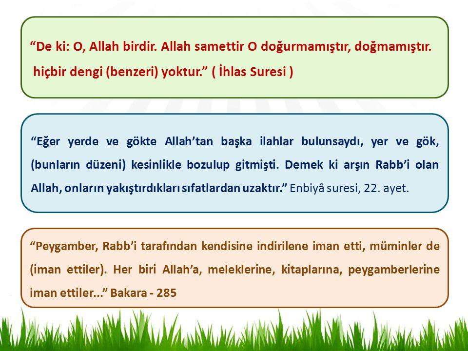 De ki: O, Allah birdir.Allah samettir O doğurmamıştır, doğmamıştır.