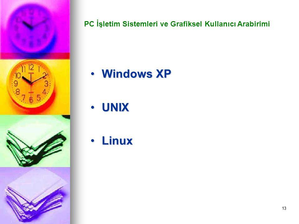 13 PC İşletim Sistemleri ve Grafiksel Kullanıcı Arabirimi Windows XPWindows XP UNIXUNIX LinuxLinux
