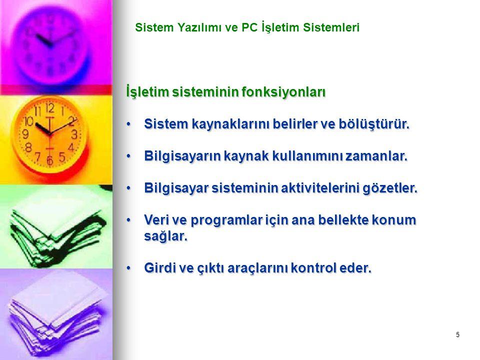 5 Sistem Yazılımı ve PC İşletim Sistemleri İşletim sisteminin fonksiyonları Sistem kaynaklarını belirler ve bölüştürür.Sistem kaynaklarını belirler ve