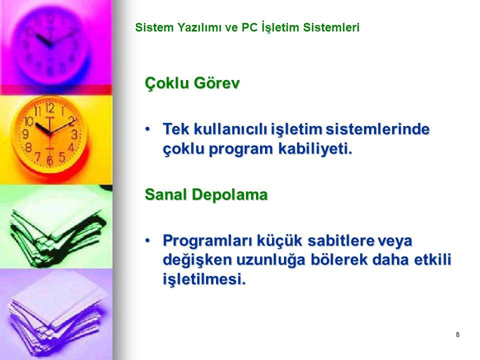8 Sistem Yazılımı ve PC İşletim Sistemleri Çoklu Görev Tek kullanıcılı işletim sistemlerinde çoklu program kabiliyeti.Tek kullanıcılı işletim sistemle