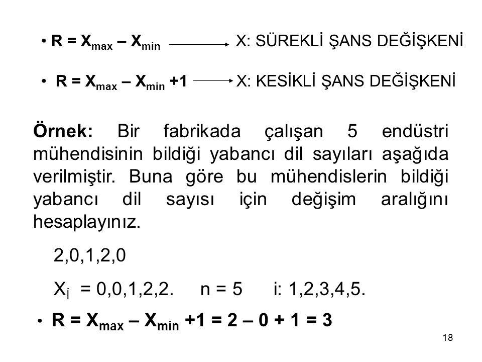 18 Örnek: Bir fabrikada çalışan 5 endüstri mühendisinin bildiği yabancı dil sayıları aşağıda verilmiştir. Buna göre bu mühendislerin bildiği yabancı d