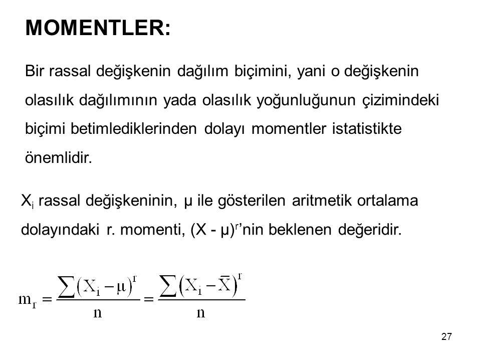 27 MOMENTLER: X i rassal değişkeninin, µ ile gösterilen aritmetik ortalama dolayındaki r. momenti, (X - µ) r 'nin beklenen değeridir. Bir rassal değiş