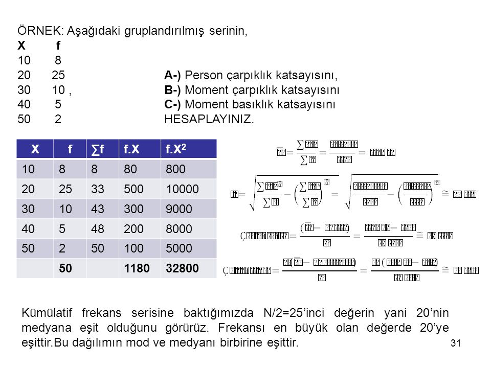 Xf∑ff.Xf.X 2 108880800 20253350010000 3010433009000 405482008000 502 1005000 50118032800 31 ÖRNEK: Aşağıdaki gruplandırılmış serinin, X f 10 8 20 25 A