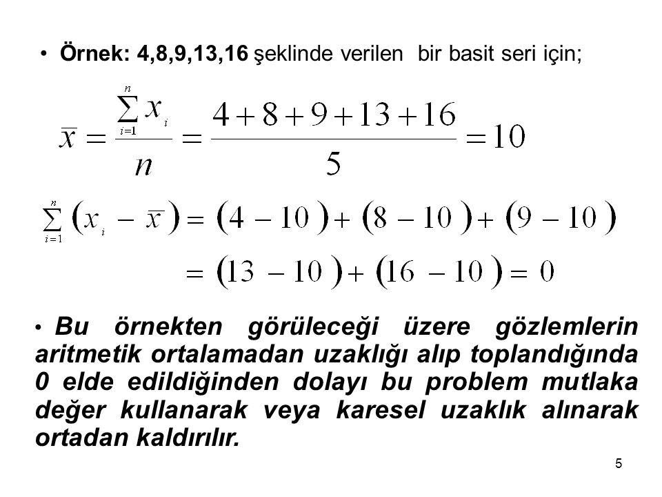 5 Örnek: 4,8,9,13,16 şeklinde verilen bir basit seri için; Bu örnekten görüleceği üzere gözlemlerin aritmetik ortalamadan uzaklığı alıp toplandığında