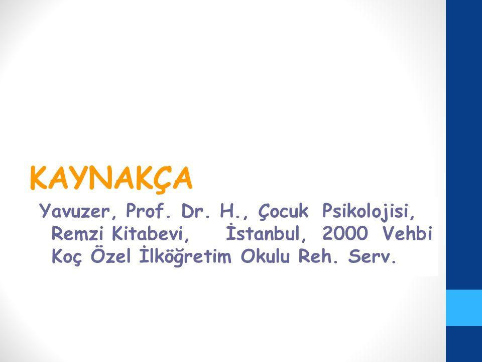 KAYNAKÇA Yavuzer, Prof. Dr. H., Çocuk Psikolojisi, Remzi Kitabevi, İstanbul, 2000 Vehbi Koç Özel İlköğretim Okulu Reh. Serv.