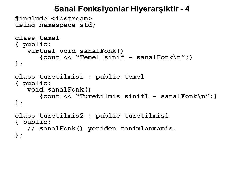 Sanal Fonksiyonlar Hiyerarşiktir - 4 #include using namespace std; class temel { public: virtual void sanalFonk() {cout << Temel sinif – sanalFonk\n ;} }; class turetilmis1 : public temel { public: void sanalFonk() {cout << Turetilmis sinif1 – sanalFonk\n ;} }; class turetilmis2 : public turetilmis1 { public: // sanalFonk() yeniden tanimlanmamis.