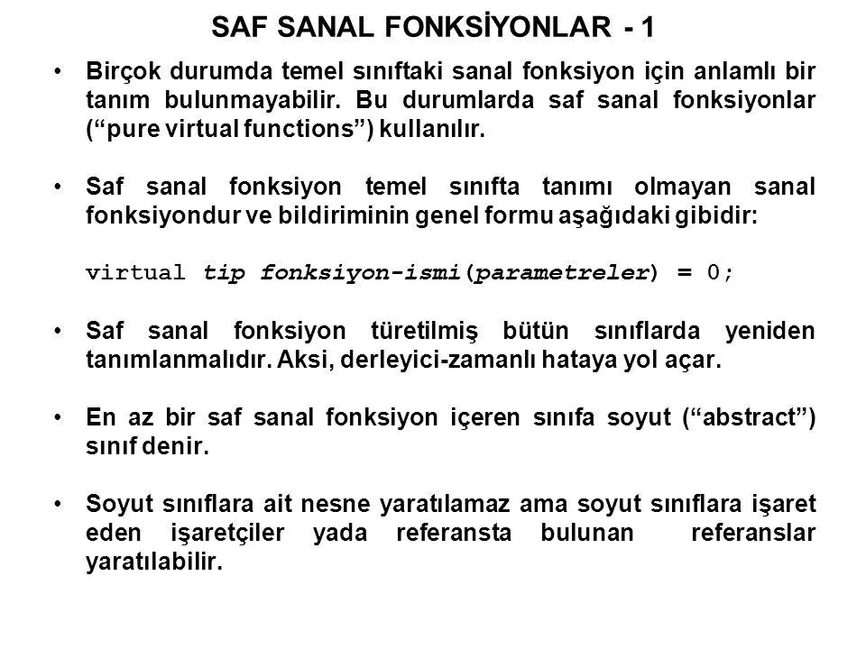 SAF SANAL FONKSİYONLAR - 1 Birçok durumda temel sınıftaki sanal fonksiyon için anlamlı bir tanım bulunmayabilir.