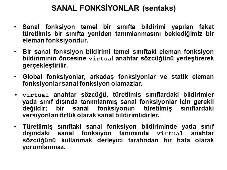 SANAL FONKSİYONLAR (semantik) Normal bir erişimde, sanal fonksiyonlar diğer bütün sınıfa ait eleman fonksiyonlar gibi davranırlar.