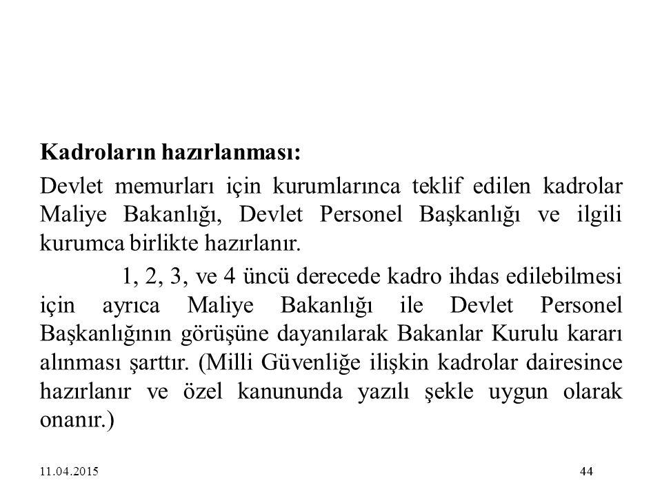 44 Kadroların hazırlanması: Devlet memurları için kurumlarınca teklif edilen kadrolar Maliye Bakanlığı, Devlet Personel Başkanlığı ve ilgili kurumca b