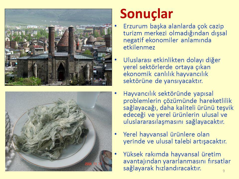 Sonuçlar Erzurum başka alanlarda çok cazip turizm merkezi olmadığından dışsal negatif ekonomiler anlamında etkilenmez Uluslarası etkinlikten dolayı diğer yerel sektörlerde ortaya çıkan ekonomik canlılık hayvancılık sektörüne de yansıyacaktır.