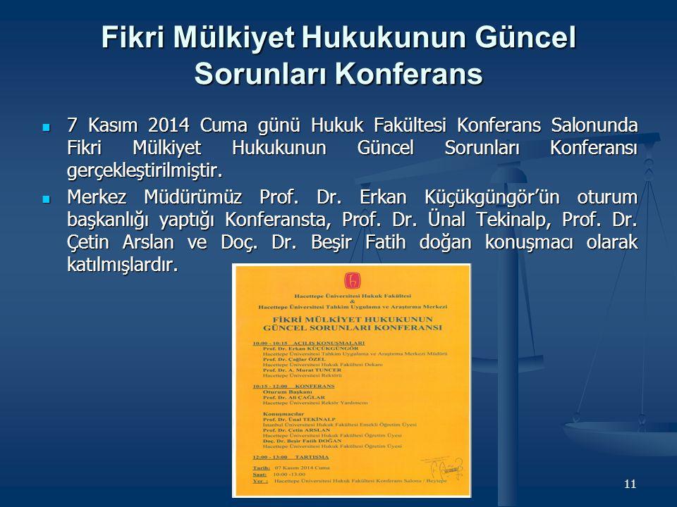 Fikri Mülkiyet Hukukunun Güncel Sorunları Konferans 7 Kasım 2014 Cuma günü Hukuk Fakültesi Konferans Salonunda Fikri Mülkiyet Hukukunun Güncel Sorunla