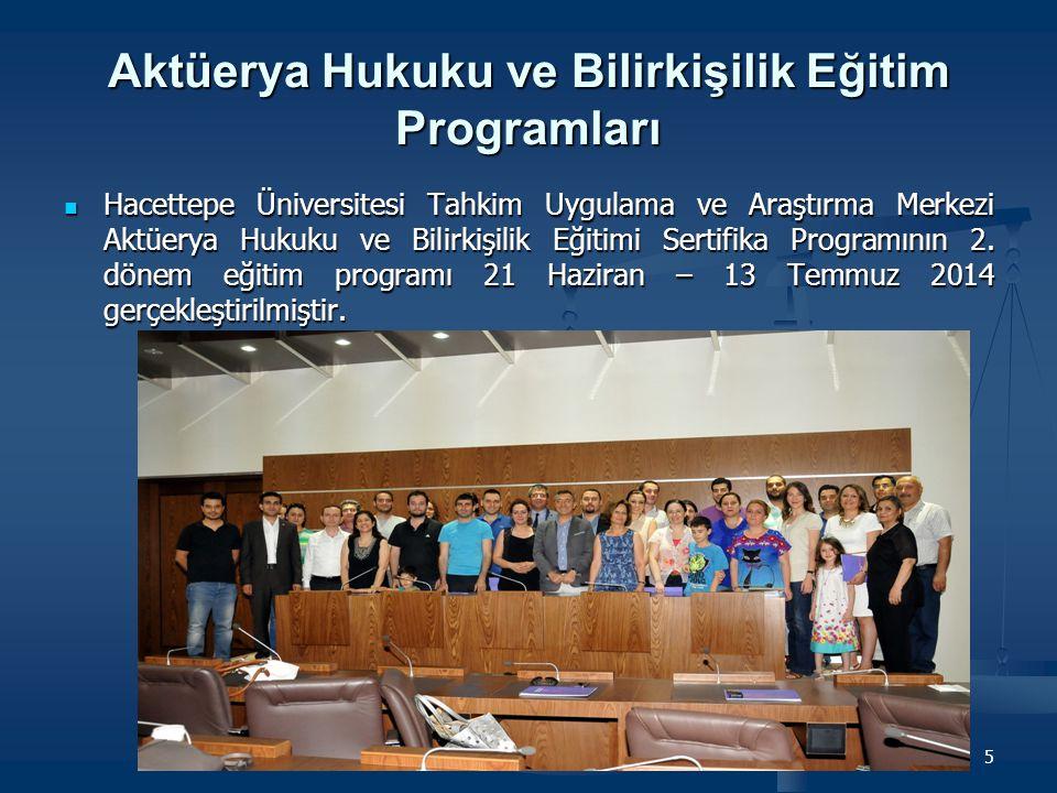 Aktüerya Hukuku ve Bilirkişilik Eğitim Programları Hacettepe Üniversitesi Tahkim Uygulama ve Araştırma Merkezi Aktüerya Hukuku ve Bilirkişilik Eğitimi Sertifika Programının 3.