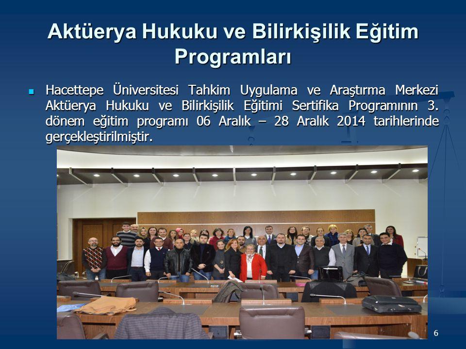 Aktüerya Hukuku ve Bilirkişilik Eğitim Programları Hacettepe Üniversitesi Tahkim Uygulama ve Araştırma Merkezi Aktüerya Hukuku ve Bilirkişilik Eğitimi Sertifika Programının 4.