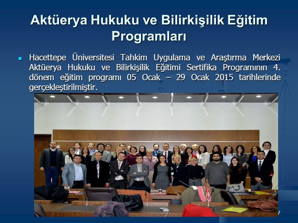 Aktüerya Hukuku ve Bilirkişilik Eğitim Programları Hacettepe Üniversitesi Tahkim Uygulama ve Araştırma Merkezi Aktüerya Hukuku ve Bilirkişilik Eğitimi