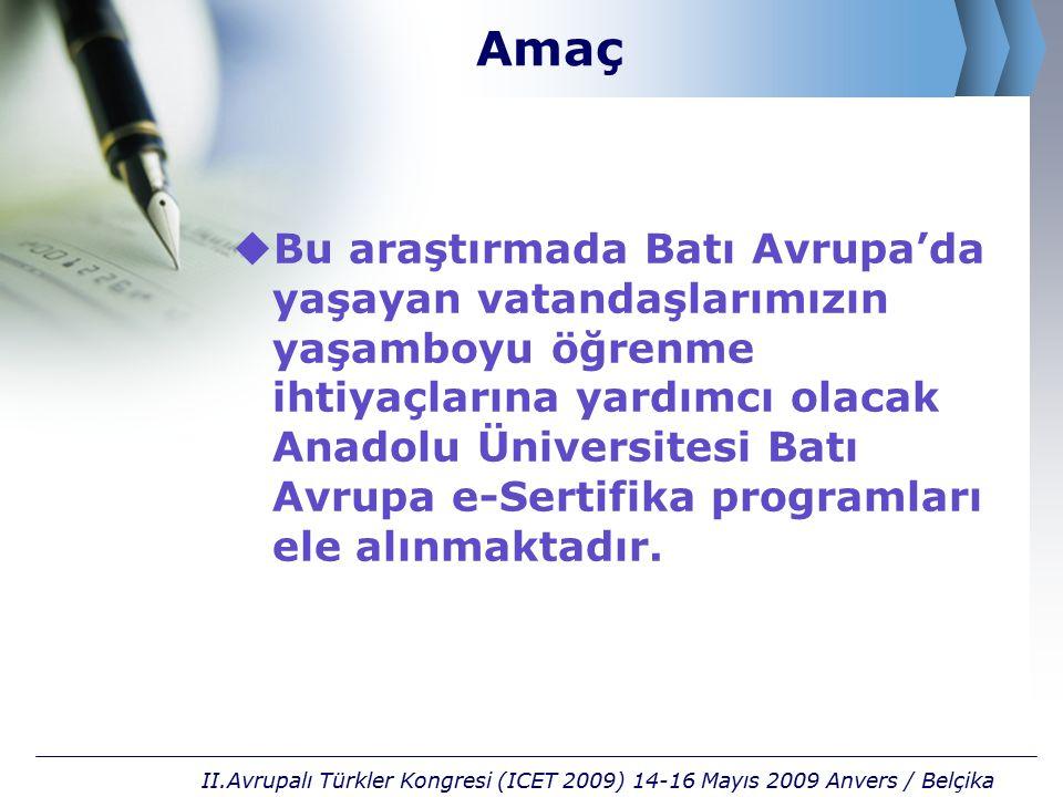 Öğrenme Ortamları II.Avrupalı Türkler Kongresi (ICET 2009) 14-16 Mayıs 2009 Anvers / Belçika e-Öğrenme Kitaplar Sınavlar