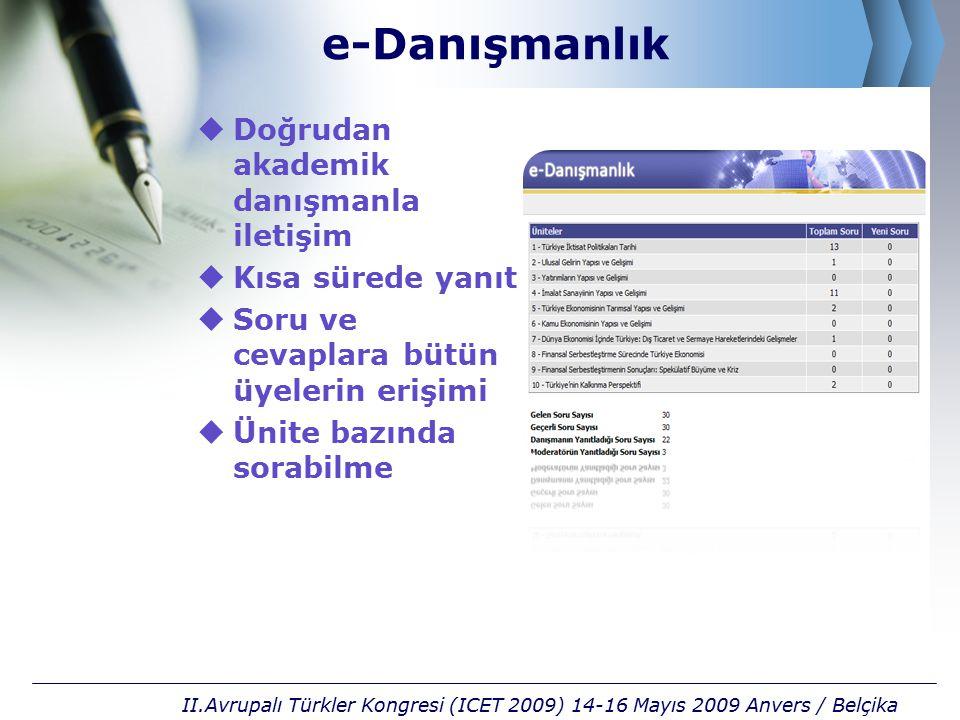 e-Danışmanlık  Doğrudan akademik danışmanla iletişim  Kısa sürede yanıt  Soru ve cevaplara bütün üyelerin erişimi  Ünite bazında sorabilme II.Avrupalı Türkler Kongresi (ICET 2009) 14-16 Mayıs 2009 Anvers / Belçika