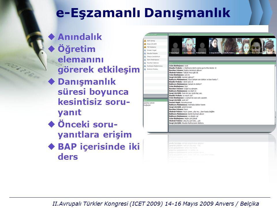 e-Eşzamanlı Danışmanlık  Anındalık  Öğretim elemanını görerek etkileşim  Danışmanlık süresi boyunca kesintisiz soru- yanıt  Önceki soru- yanıtlara erişim  BAP içerisinde iki ders II.Avrupalı Türkler Kongresi (ICET 2009) 14-16 Mayıs 2009 Anvers / Belçika