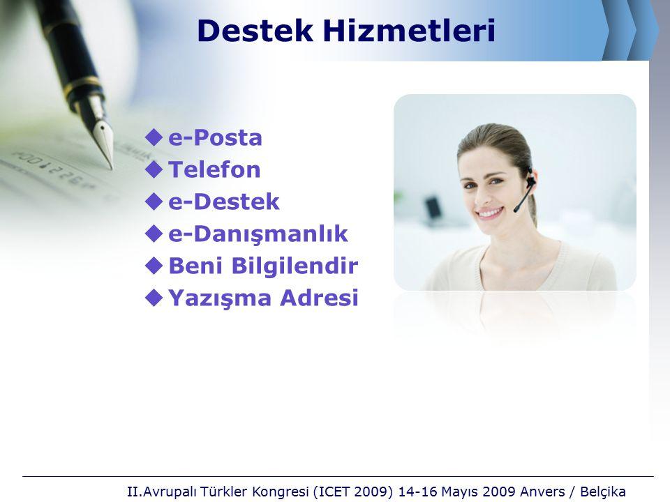 Destek Hizmetleri  e-Posta  Telefon  e-Destek  e-Danışmanlık  Beni Bilgilendir  Yazışma Adresi II.Avrupalı Türkler Kongresi (ICET 2009) 14-16 Mayıs 2009 Anvers / Belçika