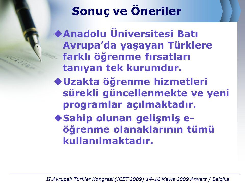 Sonuç ve Öneriler  Anadolu Üniversitesi Batı Avrupa'da yaşayan Türklere farklı öğrenme fırsatları tanıyan tek kurumdur.  Uzakta öğrenme hizmetleri s