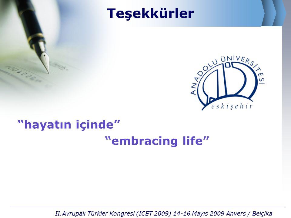 """Teşekkürler """"hayatın içinde"""" """"embracing life"""" II.Avrupalı Türkler Kongresi (ICET 2009) 14-16 Mayıs 2009 Anvers / Belçika"""