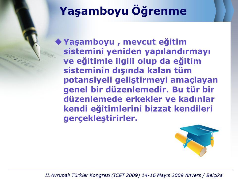 E-Öğrenme Ortamları  e-Kitap  e-Televizyon  e-Alıştırma  e-Ders  e-Sınav  e-Danışmanlık  e-Sesli kitap  e-Eşzamanlı danışmanlık II.Avrupalı Türkler Kongresi (ICET 2009) 14-16 Mayıs 2009 Anvers / Belçika