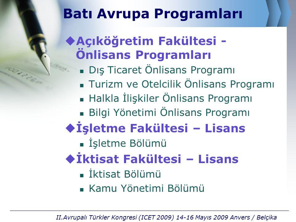 Batı Avrupa Programları  Açıköğretim Fakültesi - Önlisans Programları Dış Ticaret Önlisans Programı Turizm ve Otelcilik Önlisans Programı Halkla İliş