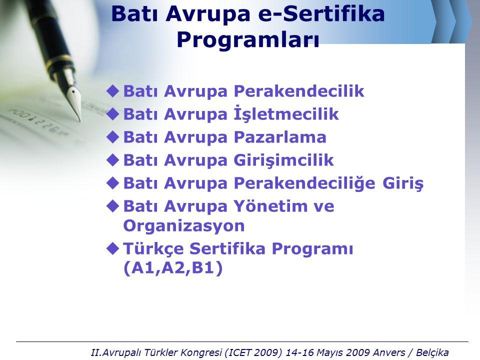  Batı Avrupa Perakendecilik  Batı Avrupa İşletmecilik  Batı Avrupa Pazarlama  Batı Avrupa Girişimcilik  Batı Avrupa Perakendeciliğe Giriş  Batı Avrupa Yönetim ve Organizasyon  Türkçe Sertifika Programı (A1,A2,B1) II.Avrupalı Türkler Kongresi (ICET 2009) 14-16 Mayıs 2009 Anvers / Belçika Batı Avrupa e-Sertifika Programları
