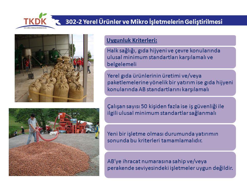 302-2 Yerel Ürünler ve Mikro İşletmelerin Geliştirilmesi Uygunluk Kriterleri: Halk sağlığı, gıda hijyeni ve çevre konularında ulusal minimum standartl