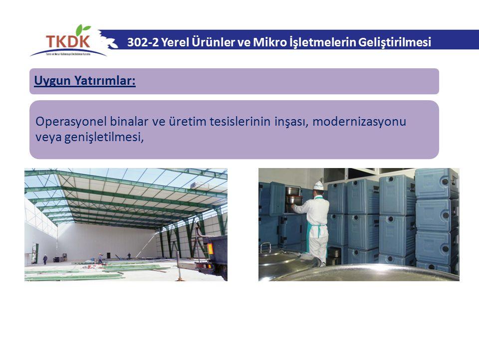 302-2 Yerel Ürünler ve Mikro İşletmelerin Geliştirilmesi Uygun Yatırımlar: Operasyonel binalar ve üretim tesislerinin inşası, modernizasyonu veya geni