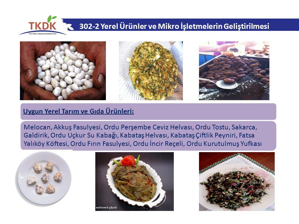 302-2 Yerel Ürünler ve Mikro İşletmelerin Geliştirilmesi Uygun Yerel Tarım ve Gıda Ürünleri: Melocan, Akkuş Fasulyesi, Ordu Perşembe Ceviz Helvası, Or