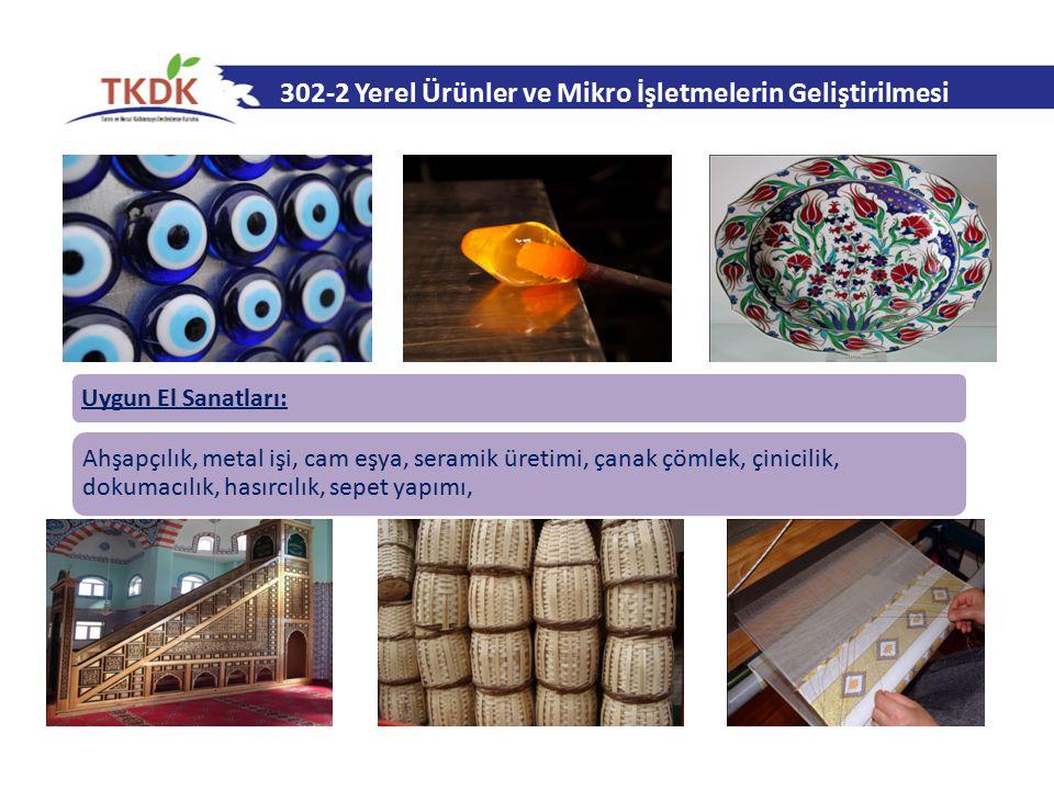 302-2 Yerel Ürünler ve Mikro İşletmelerin Geliştirilmesi Uygun El Sanatları: Ahşapçılık, metal işi, cam eşya, seramik üretimi, çanak çömlek, çinicilik