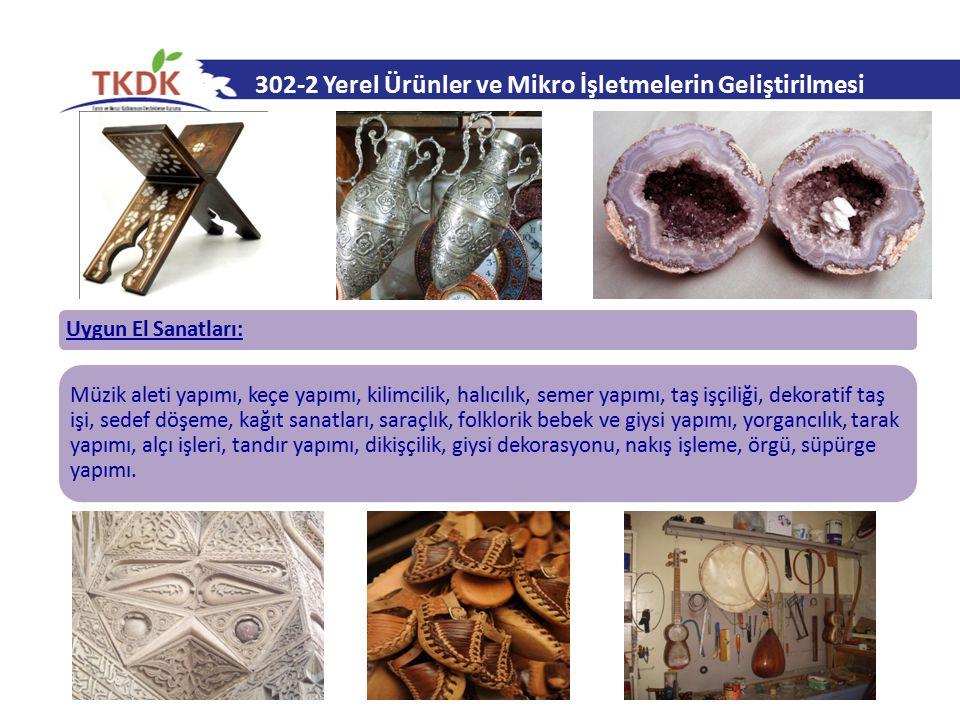 302-2 Yerel Ürünler ve Mikro İşletmelerin Geliştirilmesi Uygun El Sanatları: Müzik aleti yapımı, keçe yapımı, kilimcilik, halıcılık, semer yapımı, taş