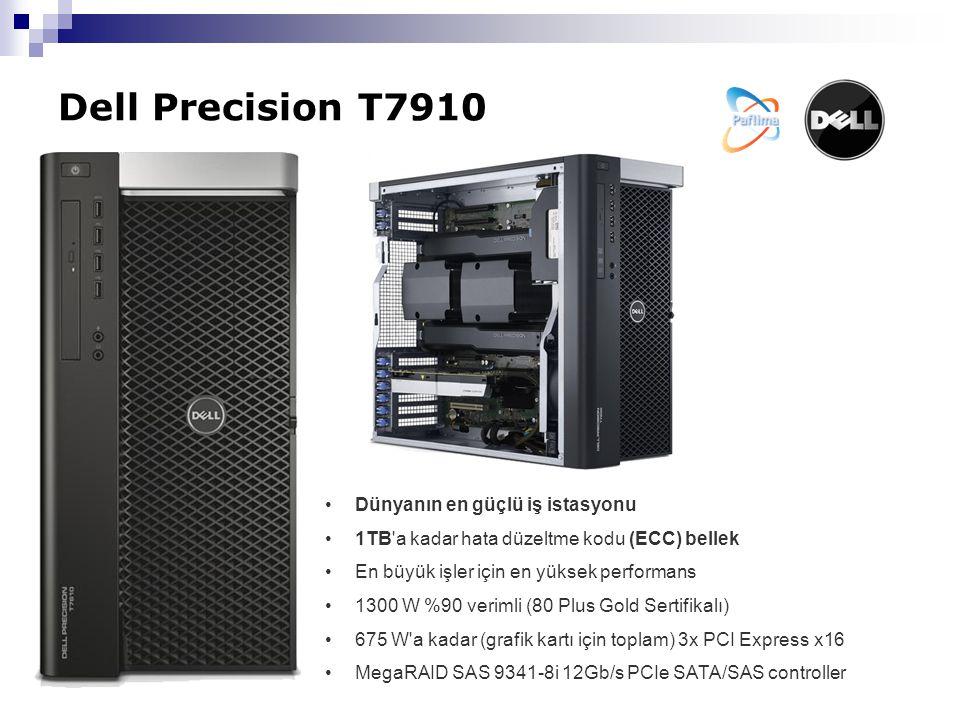 Dell Precision T7910 Dünyanın en güçlü iş istasyonu 1TB a kadar hata düzeltme kodu (ECC) bellek En büyük işler için en yüksek performans 1300 W %90 verimli (80 Plus Gold Sertifikalı) 675 W a kadar (grafik kartı için toplam) 3x PCI Express x16 MegaRAID SAS 9341-8i 12Gb/s PCIe SATA/SAS controller