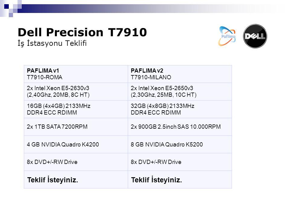 Dell Precision T7910 İş İstasyonu Teklifi PAFLIMA v1 T7910-ROMA PAFLIMA v2 T7910-MILANO 2x Intel Xeon E5-2630v3 (2,40Ghz, 20MB, 8C HT) 2x Intel Xeon E5-2650v3 (2,30Ghz, 25MB, 10C HT) 16GB (4x4GB) 2133MHz DDR4 ECC RDIMM 32GB (4x8GB) 2133MHz DDR4 ECC RDIMM 2x 1TB SATA 7200RPM2x 900GB 2.5inch SAS 10.000RPM 4 GB NVIDIA Quadro K42008 GB NVIDIA Quadro K5200 8x DVD+/-RW Drive Teklif İsteyiniz.
