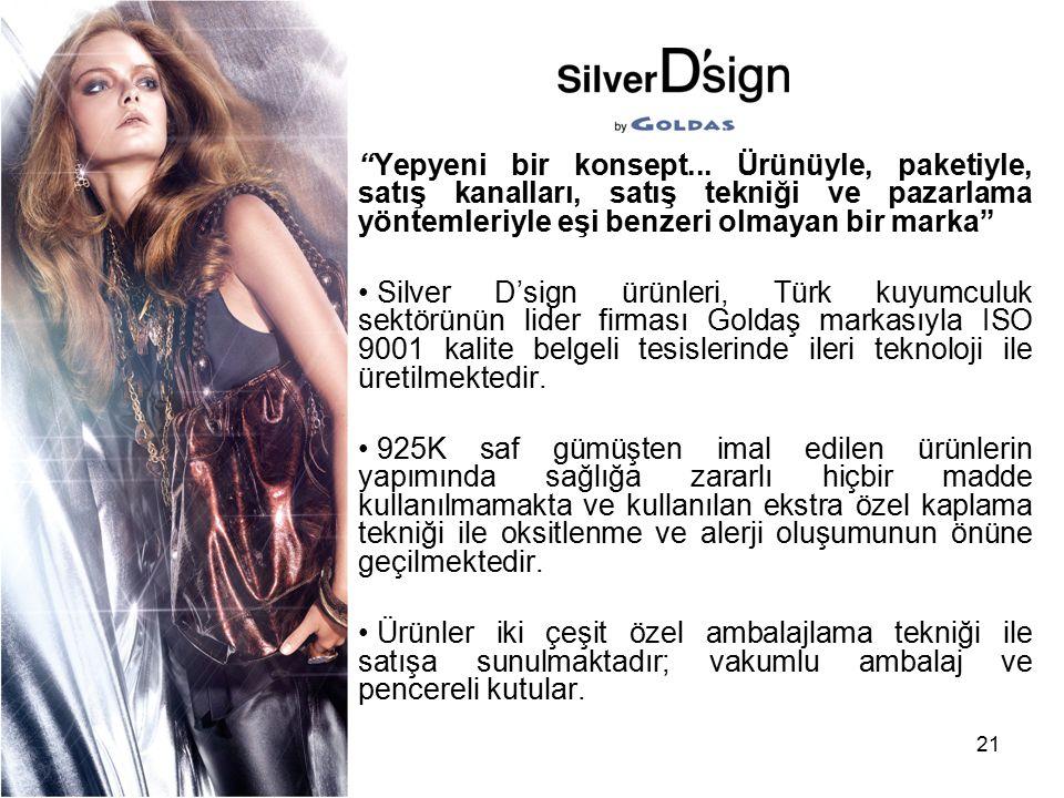 """21 """"Yepyeni bir konsept... Ürünüyle, paketiyle, satış kanalları, satış tekniği ve pazarlama yöntemleriyle eşi benzeri olmayan bir marka"""" Silver D'sign"""