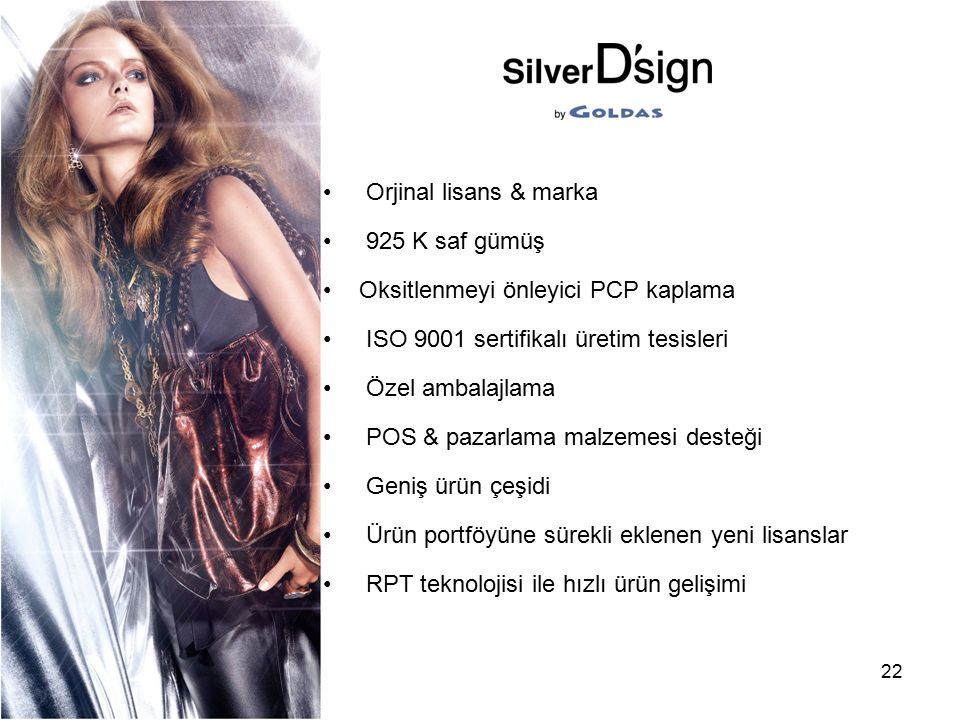 22 Orjinal lisans & marka 925 K saf gümüş Oksitlenmeyi önleyici PCP kaplama ISO 9001 sertifikalı üretim tesisleri Özel ambalajlama POS & pazarlama mal