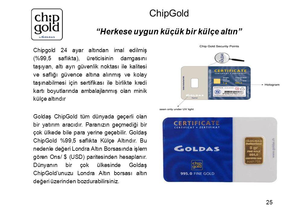 25 Chipgold 24 ayar altından imal edilmiş (%99,5 saflıkta), üreticisinin damgasını taşıyan, altı ayrı güvenlik noktası ile kalitesi ve saflığı güvence