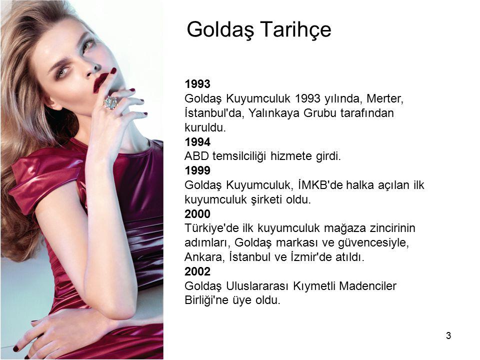 3 Goldaş Tarihçe 1993 Goldaş Kuyumculuk 1993 yılında, Merter, İstanbul'da, Yalınkaya Grubu tarafından kuruldu. 1994 ABD temsilciliği hizmete girdi. 19