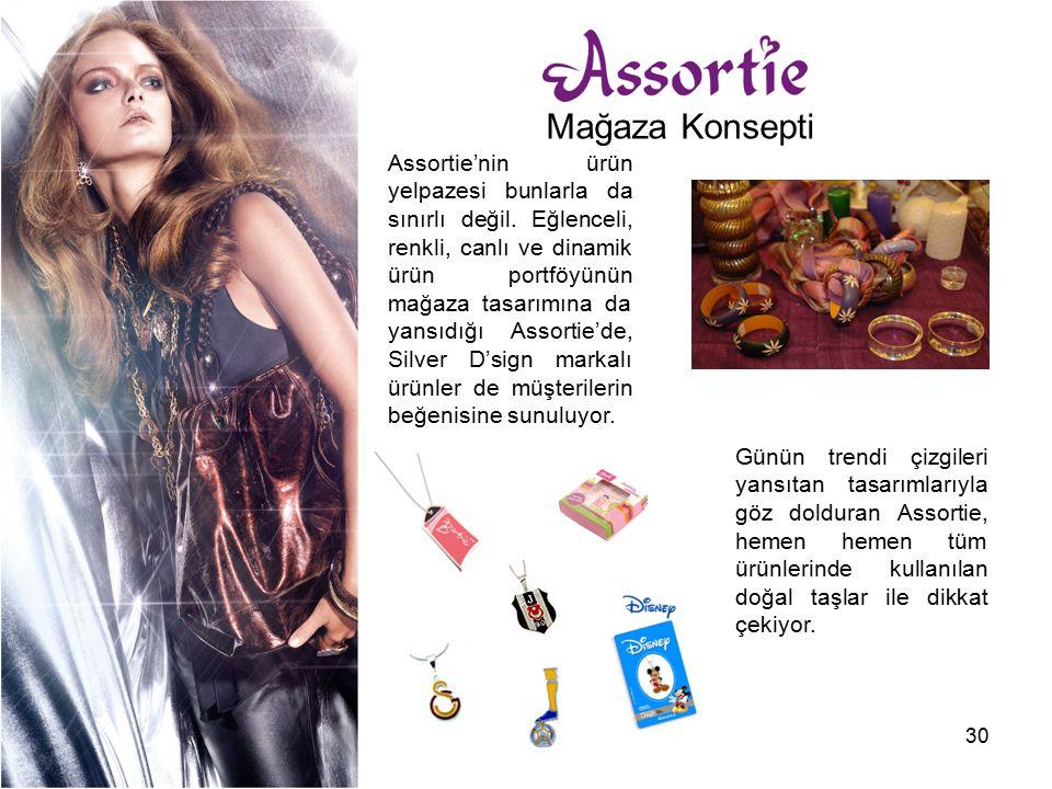 30 Assortie'nin ürün yelpazesi bunlarla da sınırlı değil. Eğlenceli, renkli, canlı ve dinamik ürün portföyünün mağaza tasarımına da yansıdığı Assortie