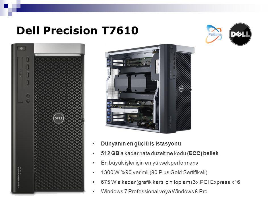 Dell Precision T7610 Dünyanın en güçlü iş istasyonu 512 GB a kadar hata düzeltme kodu (ECC) bellek En büyük işler için en yüksek performans 1300 W %90 verimli (80 Plus Gold Sertifikalı) 675 W a kadar (grafik kartı için toplam) 3x PCI Express x16 Windows 7 Professional veya Windows 8 Pro
