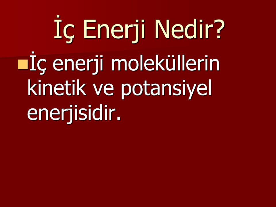 İç Enerji Nedir? İç enerji moleküllerin kinetik ve potansiyel enerjisidir. İç enerji moleküllerin kinetik ve potansiyel enerjisidir.