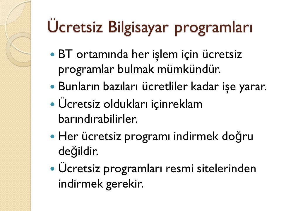 Ücretsiz Bilgisayar programları BT ortamında her işlem için ücretsiz programlar bulmak mümkündür.