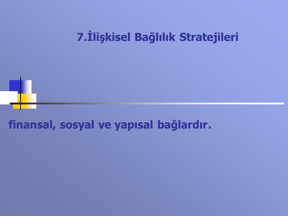 finansal, sosyal ve yapısal bağlardır. 7.İlişkisel Bağlılık Stratejileri